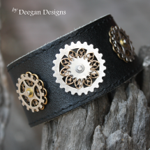 DD299 Filigree Steampunk Leather Cuff